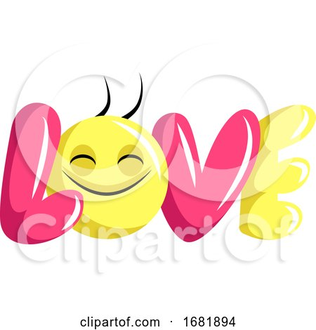 Pink and Yellow Love Sign with Happy Face Posters, Art Prints