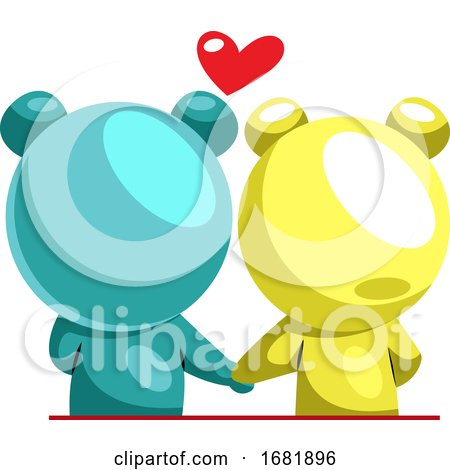 Blue and Yellow Bear in Love Posters, Art Prints