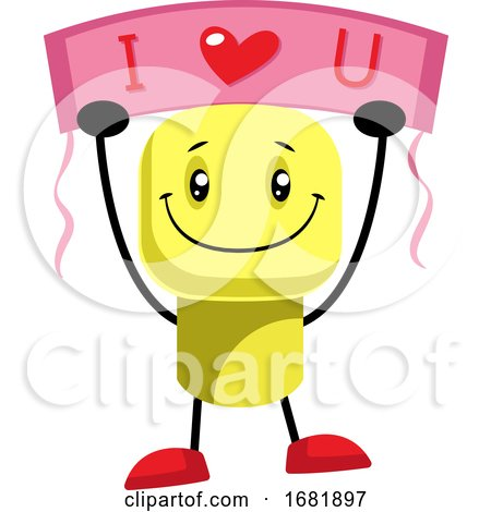 Yellow Character Says That He Loves You Posters, Art Prints