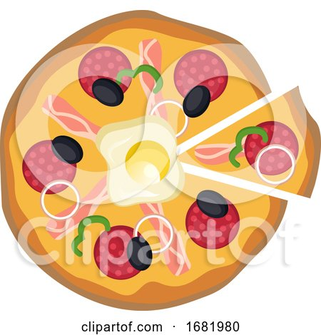 Pizza with One Cut Piece Vector Illustration on a White Background by Morphart Creations