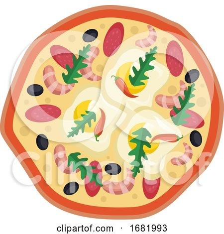Salami shrimp Pizza by Morphart Creations