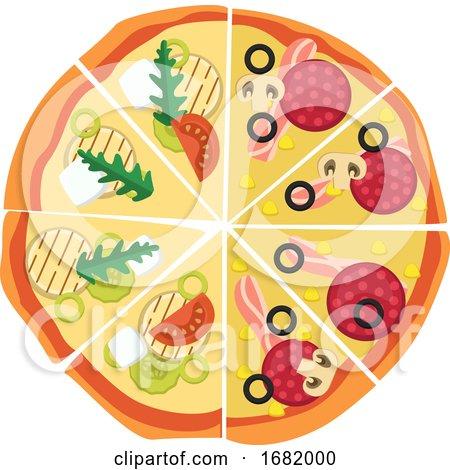 Half Pepperonihalf Veggie Pizza  by Morphart Creations