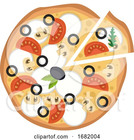 Pizza with Veggies and Mozzarella by Morphart Creations