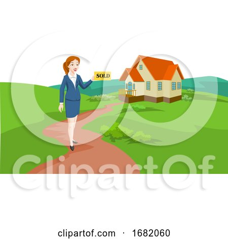 Woman Real Estate Agent Selling a House, Illustration by Morphart Creations