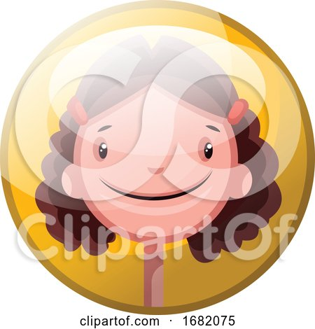 Cartoon Character of a Smiling Girl with Brown Curly Hair by Morphart Creations