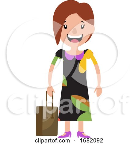 A Young Woman in a Dress Smiling and Holding Her Bag by Morphart Creations