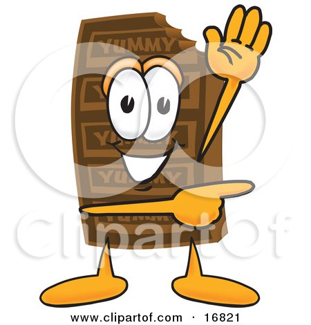 Clipart Picture of a Chocolate Candy Bar Mascot Cartoon Character Waving and Pointing by Toons4Biz