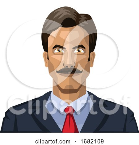 Man with Mustaches and Short Black Hair by Morphart Creations