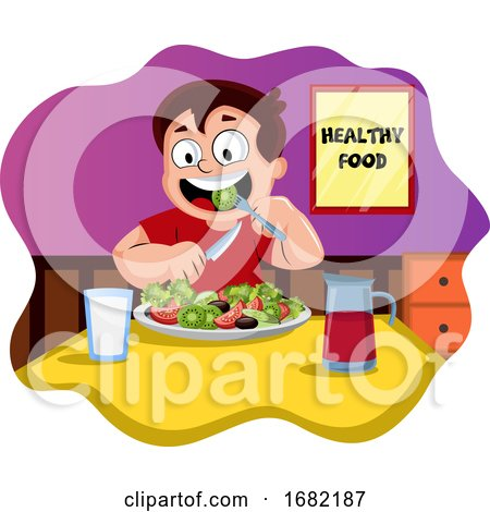 Happy Boy Eating Healthy Food by Morphart Creations