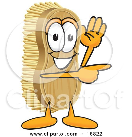 Clipart Picture of a Scrub Brush Mascot Cartoon Character Waving and Pointing to the Right by Toons4Biz