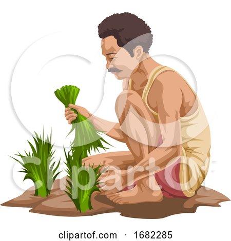 Farmer Plucking Vegetables by Morphart Creations