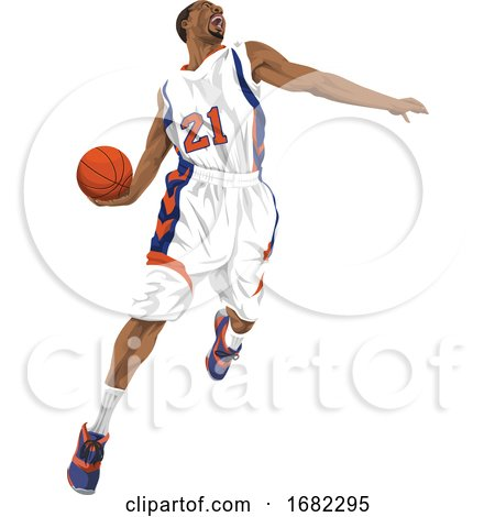 Basketball Player Going for a Slam Dunk by Morphart Creations