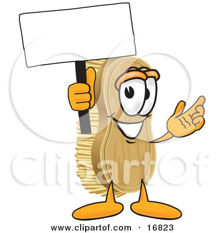 Clipart Picture of a Scrub Brush Mascot Cartoon Character Waving a Blank White Advertising Sign by Toons4Biz