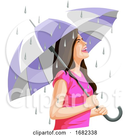 Woman Having Fun in Rain by Morphart Creations