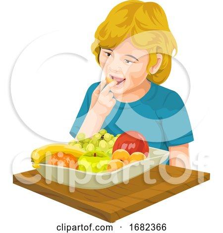Girl Eating Fresh Fruit by Morphart Creations
