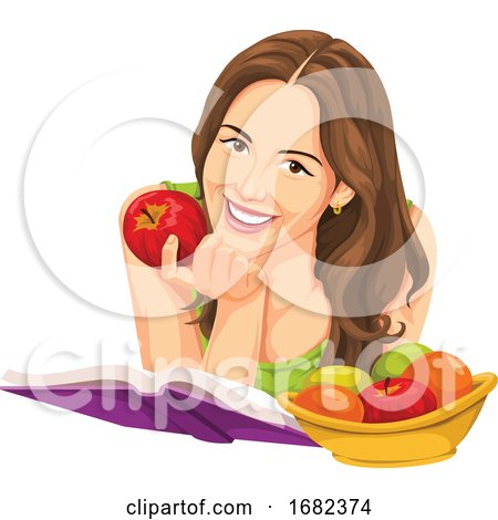Woman Holding Apple and Reading a Book by Morphart Creations