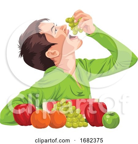 Young Boy Eating Fruit by Morphart Creations