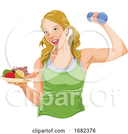 Fit Woman Posing with Dumbbell and Fruit by Morphart Creations
