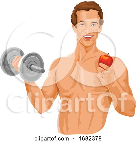 Fit Man Holding Dumbbell and an Apple by Morphart Creations