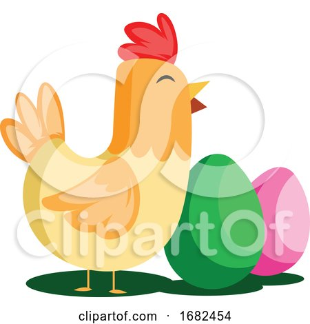 Easter Eggs and Chicken Illustration Web Posters, Art Prints