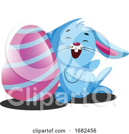 Decorated Easter Egg and Little Blue Rabbit Illustration Web Posters, Art Prints