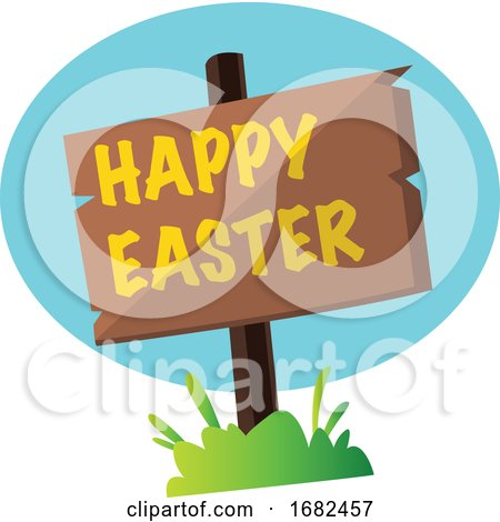 Happy Easter Sign in the Grass Illustration Web Posters, Art Prints