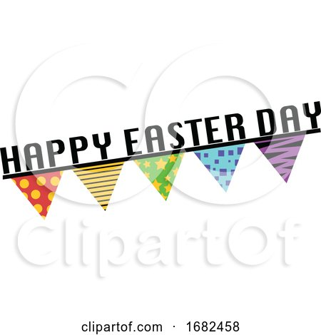 Happy Easter Day Sign with Flags Illustration Web Posters, Art Prints