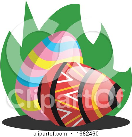Two Easter Eggs with a Pattern in Grass Illustration Web Posters, Art Prints