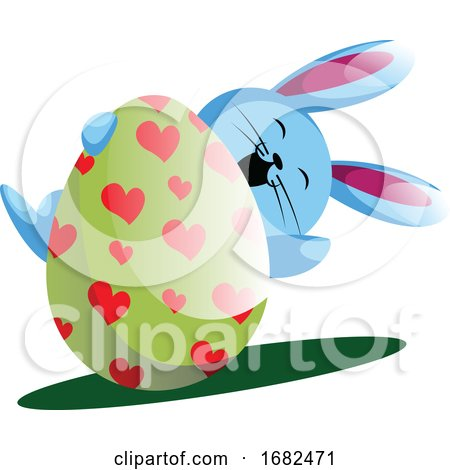 Blue Bunny Holding Easter Egg with Painted Hearts Illustration Web Posters, Art Prints