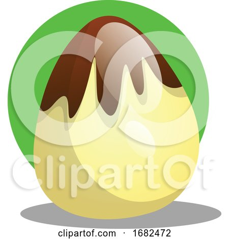 Chocolate Easter Egg in Front of Green Circle Illustration Web Posters, Art Prints