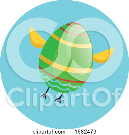 Green Easter Egg with Chicken Wings and Legs Flying Illustration Web Posters, Art Prints