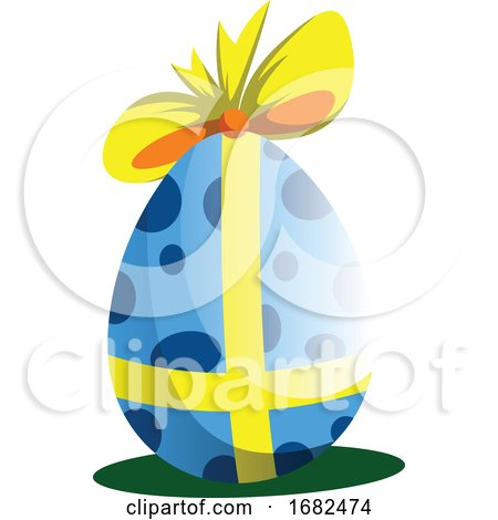 Blue Easter Egg Decorated with a Bow Illustration Web Posters, Art Prints