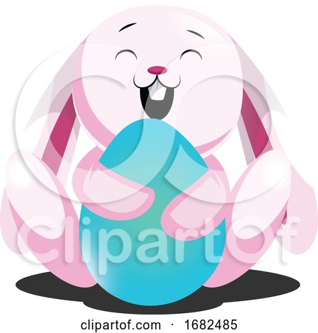 Rosy Easter Bunny Hugging Blue Egg Illustration Web on White Background Posters, Art Prints