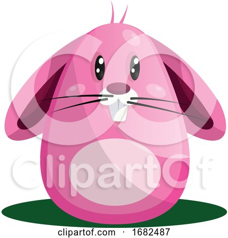 Easter Rabbit with Big Eyes and Whiskers in Pink Illustration Web on White Background Posters, Art Prints