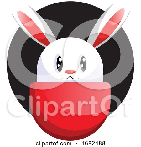 White Easter Rabbit Face in Front Black Circle Illustration Web on White Background Posters, Art Prints