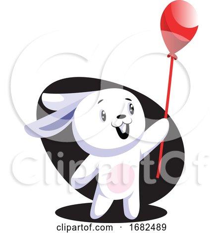 White Easter Rabbit Holding Red Balloon Illustration Web on White Background Posters, Art Prints