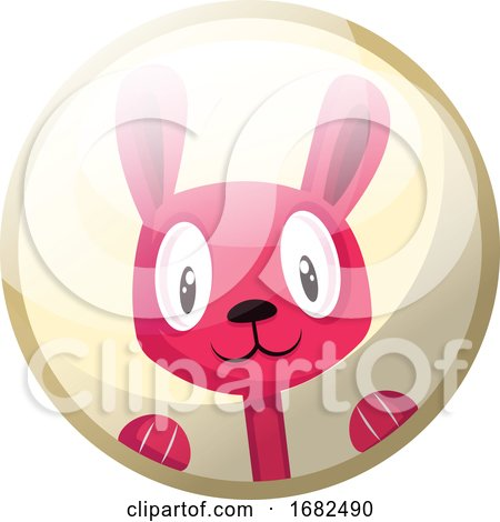 Cartoon Character of a Pink Rabbit Smiling Illustration in Light Yellow Circle on White Background. by Morphart Creations