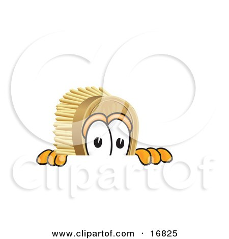 Clipart Picture of a Scrub Brush Mascot Cartoon Character Peeking Over a Surface by Toons4Biz