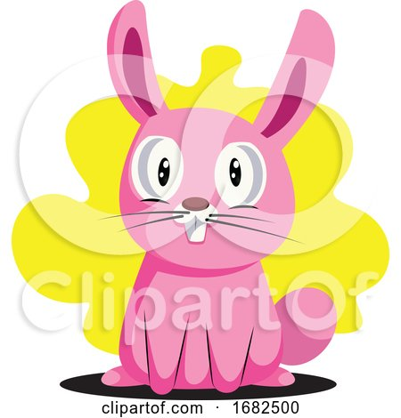 Funny Pink Easter Bunny with Big Teeth Illustration Web on White Background Posters, Art Prints