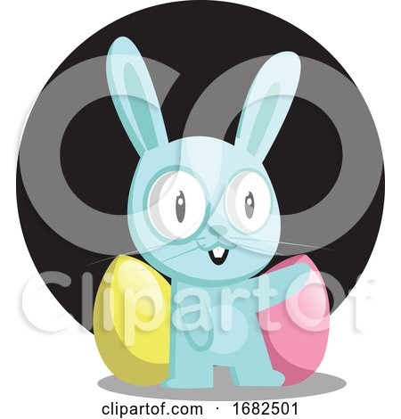 Blue Bunny with Blue and Pink Egg in Front of Black Circle Illustration Web on White Background Posters, Art Prints