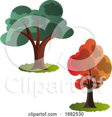 Two Autumn Tree Illustration  Posters, Art Prints