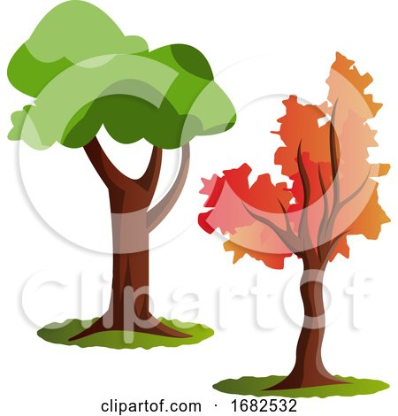 Two Autumn Tree Illustration  Posters, Art Prints