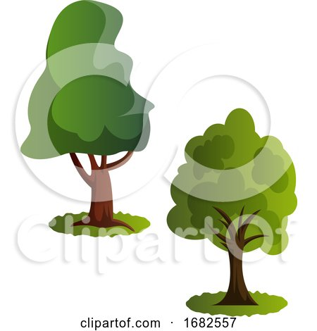 Couple of Green Trees Illustration  by Morphart Creations