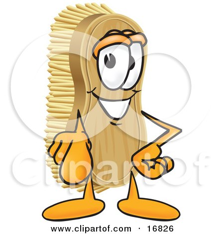 Clipart Picture of a Scrub Brush Mascot Cartoon Character Pointing Outwards at the Viewer by Toons4Biz