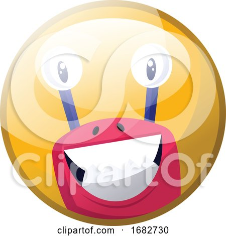 Cartoon Character of a Pink Monster with Big Teeth Smiling Illustration in Yellow Circle  by Morphart Creations