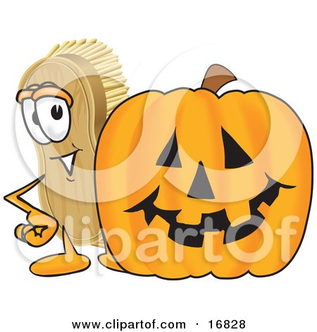 Clipart Picture of a Scrub Brush Mascot Cartoon Character Standing by a Carved Halloween Pumpkin by Toons4Biz