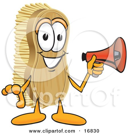 Clipart Picture of a Scrub Brush Mascot Cartoon Character Holding a Red Megaphone Bullhorn by Toons4Biz