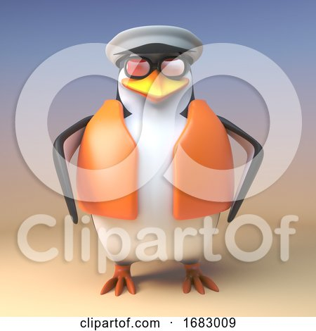 Cartoon 3d Penguin Sailor Captain in Lifeacket Standing Ready for Nautical Duty, 3d Illustration by Steve Young