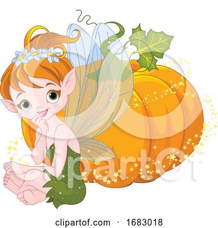 Cute Autumn Fairy Sitting by a Magical Pumpkin by Pushkin