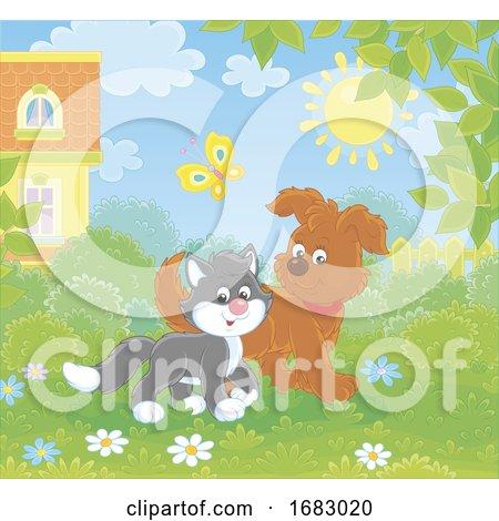 Puppy and Kitten in a Yard by Alex Bannykh